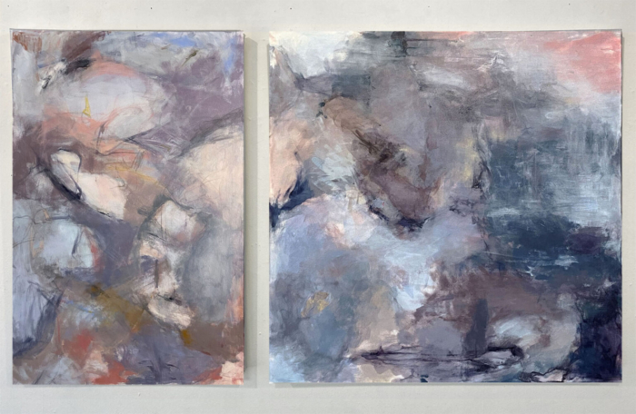 Diptych abstract paintings with grays mixed from complementary colors