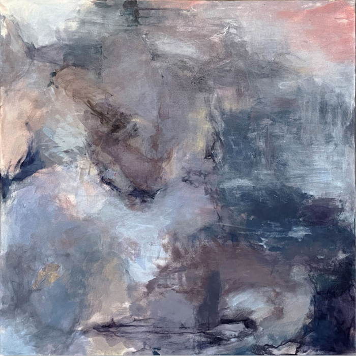 Abstract painting using only complementary colors to create a variety of grays