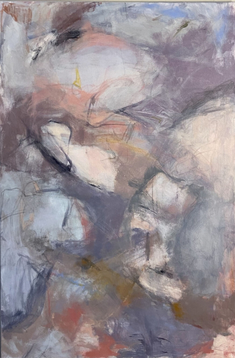 Original abstract painting in a variety of grays and peach