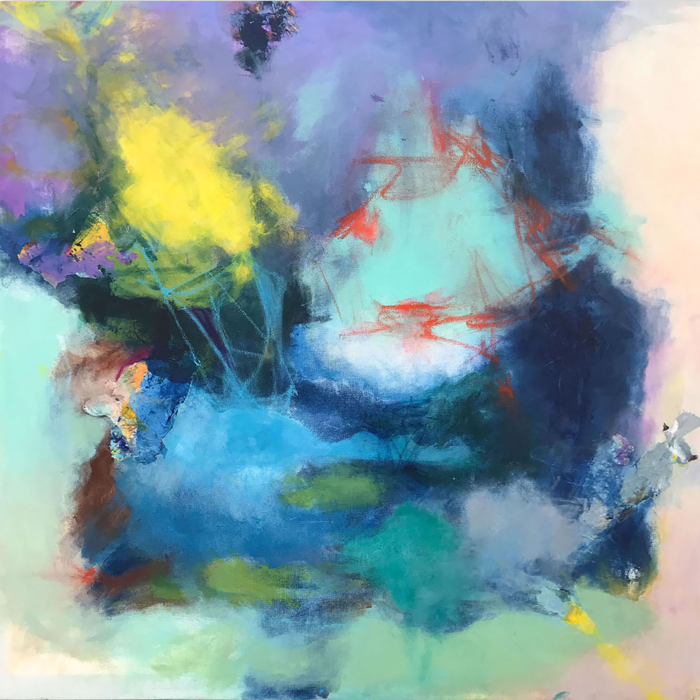 Abstract painting mostly blues and violets with pops of yellow and red
