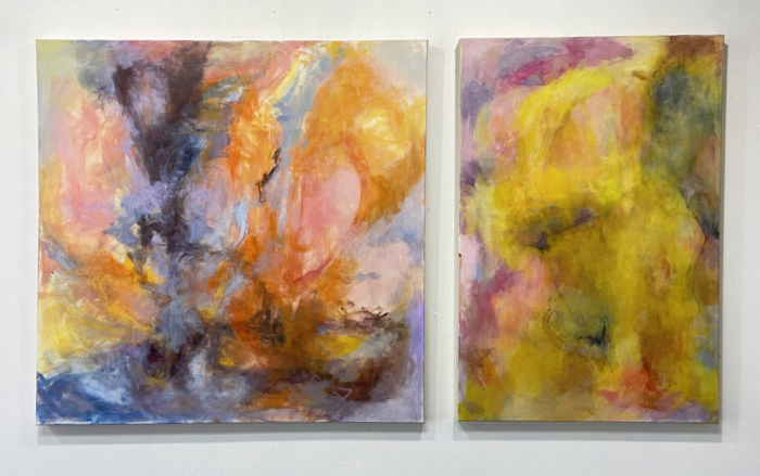 Abstract Diptych Paintings, Yellow, Orange, Pink, Violet